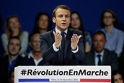 French presidential candidate Emmanuel Macron during a political Meeting in Porte de Versailles Exhibition Hall, Paris, France on December 10th, 2016. Photo by Henri Szwarc/ABACAPRESS.COM