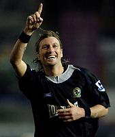 Photo: Glyn Thomas.<br />Birmingham City v Blackburn Rovers. The Barclays Premiership. 19/04/2006.<br /> Blackburn's Robbie Savage celebrates his equaliser.