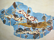 Wall painting fragments with a representation of a wild-boar hunt. Two women in a chariot watch the hounds attack a wounded prey in the forest. From the later Tiryns palace. Minoan civilization was a bronze-aged civilization that arose on the island of Crete and came to dominate the shores and islands of the Aegean Sea. The civilization flourished as a maritime power from approximately the 27th century to the 15th century BC