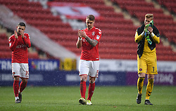 Charlton Athletic's Jake Forster-Caskey (left), Patrick Bauer and goalkeeper Ben Amos (right) applauds the fans after the final whistle
