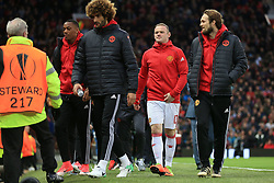 20th April 2017 - UEFA Europa League - Quarter Final - Manchester United v Anderlecht - Wayne Rooney of Man Utd (C) starts the game as a substitute alongside teammates Anthony Martial (L), Marouane Fellaini (2L) and Daley Blind (R) - Photo: Simon Stacpoole / Offside.