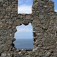 Europe, Ireland, Northern Ireland, Bushmills. Dunluce Castle window to the sea.