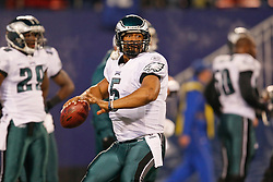 Philadelphia Eagles quarterback Donovan McNabb #5 warms up before the NFL game between the Philadelphia Eagles and the New York Giants on December 13th 2009. The Eagles won 45-38 at Giants Stadium in East Rutherford, New Jersey. (Photo By Brian Garfinkel)