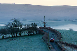 © Licensed to London News Pictures. 05/01/2017. Builth Wells, Powys, Wales, UK. A frosty early morning landscape in Powys, Mid Wales, UK after temperatures dropped to minus 4 degrees centigrade last night. Photo credit: Graham M. Lawrence/LNP
