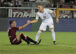 August 11, 2017 - Turin, Italy - Andrea Belotti and Tommaso Silvestri during Tim Cup 2017/2018 match between Torino v Trapani, in Turin, on August 11, 2017. FC Torino win 7-1 the math. (Credit Image: © Loris Roselli/NurPhoto via ZUMA Press)