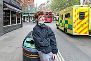 A Young Boy is seen near Leicester Square in central London on Monday, May 11, 2020, showing he was hurt and saying that he hasn't got anywhere to go. U.K. Prime Minister Boris Johnson fleshed out his plan for lifting the U.K. lockdown in Parliament as he seeks to get more people back to work, even as resistance from politicians and labour unions laid bare the hurdles facing the government as it seeks to kickstart the economy. (Photo/ Vudi Xhymshiti)