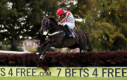 Rolling Maul ridden by Sean Bowen jump the last on their way to victory in the Hopshed Brewery, Local Hops, Local Beer Handicap Hurdle at Worcester Racecourse, Worcester.