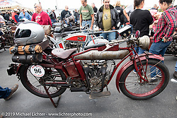 Doug Jones' 1914 Indian at Big Moose Harley-Davidson for the start of the Motorcycle Cannonball coast to coast vintage run. Stage-1 (145-miles) from Portland, Maine to Keene, NH. Saturday September 8, 2018. Photography ©2018 Michael Lichter.