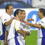 Turkish soccer  Fenerbahce's Serhat AKIN(C), Ogun TEMIZKANOGLU(N), Stecanelo WASHINGTON(L), Haim REVIVO(R) .<br /> Photo by Aykut AKICI/TurkSporFoto