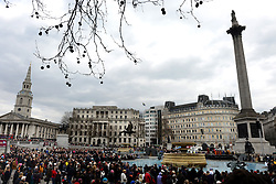 © Licensed to London News Pictures. 29/03/2013. London, UK. Actors perform ?The Passion of Jesus? to crowds in Trafalgar Square on March 29, 2013 in London, England. The Passion of Jesus is preformed by Wintershall players with volunteers from in and around London on Good Friday.The open-air performance includes a cast of 78 actors dressed in authentic costumes..Photo credit : Peter Kollanyi/LNP