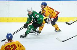 Ropret Anze of HK SZ Olimpija vs Miglioranzi Enrico of Asiago during first leg Ice Hockey game between HK SZ Olimpija Ljubljana and Asiago Hockey in Final of Alps Hockey League 2020/21, on April 20, 2021 in Hala Tivoli, Ljubljana, Slovenia. Photo by Vid Ponikvar / Sportida