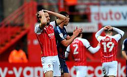 Andy Williams of Cheltenham Town cuts a dejected figure as his side lose 0-2 to Bradford City- Mandatory by-line: Nizaam Jones/JMP - 20/02/2021 - FOOTBALL - Jonny-Rocks Stadium - Cheltenham, England - Cheltenham Town v Bradford City - Sky Bet League Two