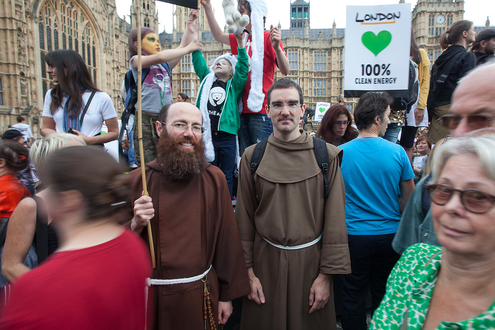 The march in London, as well as the many other marches around the world, united a broad diversity of people with a single aim, to encourage urgent action on climate change.<br /> <br /> In the picture are Brother Paul and Brother Micael Christoffer, both Franciscan Friars, one an English Catholic, the other a Swedish Lutheran.