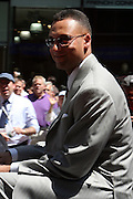 Derek Jeter at the Major League Baseball All-Stars and 49 Hall of Famers ride up Sixth Avenue in All Star-Game Red Carpet Parade Presented by Chevy on July 15, 2008