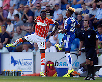 Blackpool's Bright Osavi-Samuel in action during todays match  <br /> <br /> Photographer  Kieran Galvin/CameraSport<br /> <br /> Football - The Football League Sky Bet League One - Colchester United v Blackpool - Saturday 08th August 2015 - Weston Homes Community Stadium - Colchester<br /> <br /> © CameraSport - 43 Linden Ave. Countesthorpe. Leicester. England. LE8 5PG - Tel: +44 (0) 116 277 4147 - admin@camerasport.com - www.camerasport.com