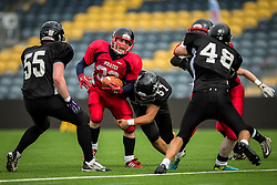 East Kilbride Pirates running back is tackled - Mandatory by-line: Jason Brown/JMP - 27/08/2016 - AMERICAN FOOTBALL - Sixways Stadium - Worcester, England - Kent Exiles v East Kilbride Pirates - BAFA Britbowl Finals Day