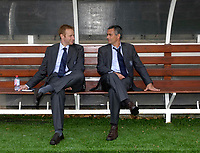 Photo: Daniel Hambury.<br />Fulham v Chelsea. The Barclays Premiership. 23/09/2006.<br />Fulham's manager Jose Mourinho (R) and press officer Simon Greenberg pictured before the match.
