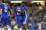 Victor Moses of Chelsea celebrates after he scores his sides 2nd goal of the match to make it 2-0 with fellow goalscorer Michy Batshuayi of Chelsea (r). EFL Cup 2nd round match, Chelsea v Bristol Rovers at Stamford Bridge in London on Tuesday 23rd August 2016.<br /> pic by John Patrick Fletcher, Andrew Orchard sports photography.