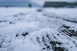 THEMENBILD - gefrorener Schnee auf einer Straße, aufgenommen am 10. Februara 2021 in Kaprun, Oesterreich // frozen snow on a street, in Kaprun, Austria on 2021/02/10. EXPA Pictures © 2021, PhotoCredit: EXPA/Stefanie Oberhauser