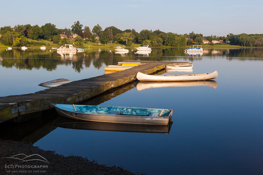 Boats on a dock in Weathersfield Cove in Weathersfield, Connecticut.
