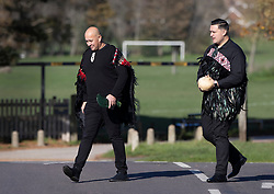 © Licensed to London News Pictures. 04/11/2020. Shoreham, UK. Members of the traditional Ngāti Rānana London Māori Club arrive to perform a Haka at the funeral of police Sgt Matt Ratana at a funeral directors in Shoreham, West Sussex. Family members were joined by police colleagues including Metropolitan Police Commissioner Cressida Dick. A traditonal Maori Haka was performed during the service. Sgt Ratana died from a gunshot wound to the chest in the early hours of September 25 at Croydon custody centre. Photo credit: Peter Macdiarmid/LNP