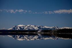 Reflection of Mt. Sheridan in Yellowstone Lake in Yellowstone National Park