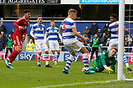 Birmingham City forward Che Adams (14) scores a goal (score 0-1) during the EFL Sky Bet Championship match between Queens Park Rangers and Birmingham City at the Loftus Road Stadium, London, England on 28 April 2018. Picture by Andy Walter.