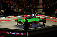 a General view of the match as Joe Perry plays a shot. . Stuart Bingham (Eng) v Joe Perry (Eng), 1st round match at the Dafabet Masters Snooker 2017, day 2 at Alexandra Palace in London on Monday 16th January 2017.<br /> pic by John Patrick Fletcher, Andrew Orchard sports photography.