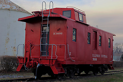 03 December 2011:   Restored caboose carrying the insignia of the Illinois Central Gulf Railroad.  This caboose is on public display on the old ICG railroad tracks near Main Street in Heyworth Illinois..This image has been processed using High Dynamic Range (HDR) methods.  If used editorially, it must be captioned as an illustration.