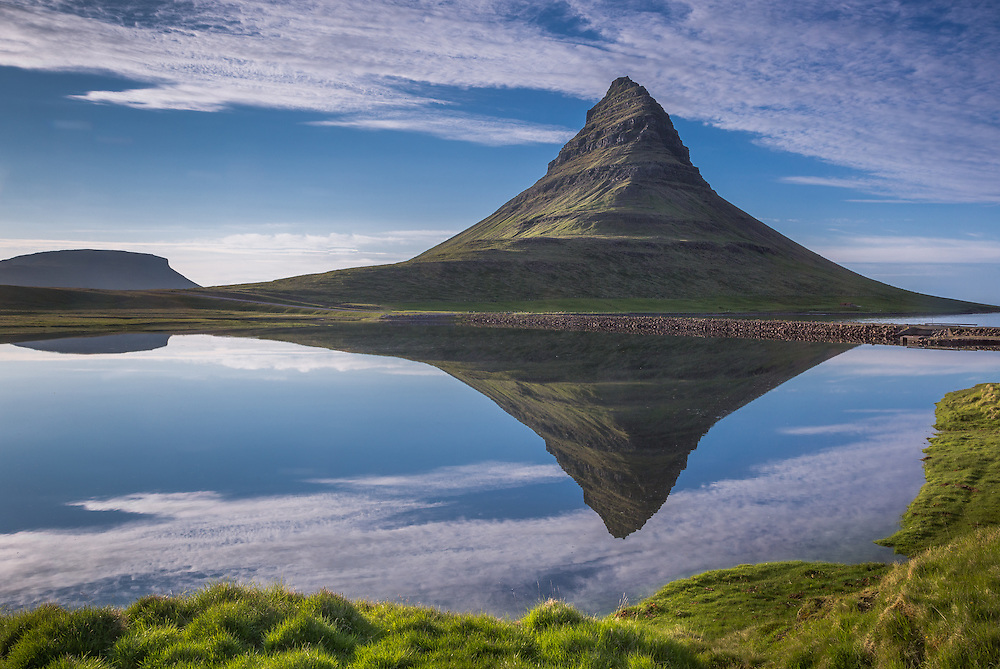Kirkjufell (Icelandic: Church mountain) is a mountain on the north coast of Iceland's Snæfellsnes peninsula, near the town of Grundarfjörður.