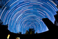 North View Star Trails. Summer Night in New Jersey. Image taken with a Nikon D3 and 16 mm f/2.8 mm Fisheye lens (ISO 400, 16 mm, f/4, 59 sec). Composite of 125 images combined using the Startrails program.