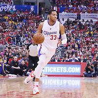 21 April 2014: Los Angeles Clippers forward Danny Granger (33) dribbles during the Los Angeles Clippers 138-98 victory over the Golden State Warriors, during Game Two of the Western Conference Quarterfinals of the NBA Playoffs, at the Staples Center, Los Angeles, California, USA.
