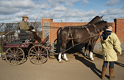 © Licensed to London News Pictures. 10/03/2012..Cleveland, England..A carriage arrives at Thrushwood Farm on Teesside to take part in the start of the hunt...Photo credit : Ian Forsyth/LNP