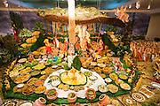 Food is left at the altar as a sign of appreciation for Lord Shri Krishna during Diwali at the Shreemaya Krishnadham Temple in Milpitas, California, on November 10, 2013. (Stan Olszewski/SOSKIphoto)