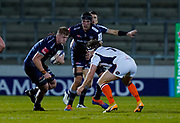 Sale Sharks lock Matt Pothleswaite runs at Edinburgh Rugby flanker Hamish Watson during the European Champions Cup match Sale Sharks -V- Edinburgh Rugby at The AJ Bell Stadium, Greater Manchester,England United Kingdom, Saturday, December 19, 2020. (Steve Flynn/Image of Sport)