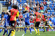 Birmingham's Charlee Adams (c) heads the ball at goal from a corner. Skybet football league championship match, Cardiff city v Birmingham city at the Cardiff city stadium in Cardiff, South Wales on Saturday 7th May 2016.<br /> pic by Carl Robertson, Andrew Orchard sports photography.
