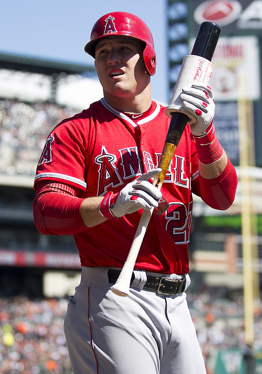 April 19, 2014:  Los Angeles Angels outfielder Mike Trout (27) during MLB game action between the Los Angeles Angels and the Detroit Tigers at Comerica Park in Detroit, Michigan.  The Tigers defeated the Angels 5-2.