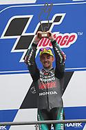 Moto3 race winner #17 John MCPHEEGBR Petronas Sprinta Racing Honda celebrates on the podium during racing on the Bugatti Circuit at Le Mans, Le Mans, France on 19 May 2019.