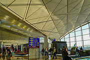 Asia, Southeast, People's Republic of China, Hong Kong, people waiting for the flight at Hong Kong international airport.