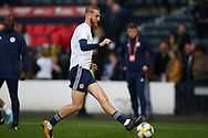 Scotland forward Oliver McBurnie (9) (Sheffield United) warming up during the UEFA European 2020 Qualifier match between Scotland and Russia at Hampden Park, Glasgow, United Kingdom on 6 September 2019.
