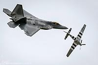 "Trenton, NJ. Joint Base McGuire-Dix-Lakehurst ""Power In The Pines"". F-22/P-51 Heritage Flight. Photograph by Alan Brian Nilsen/©AlanBrianNilsen"