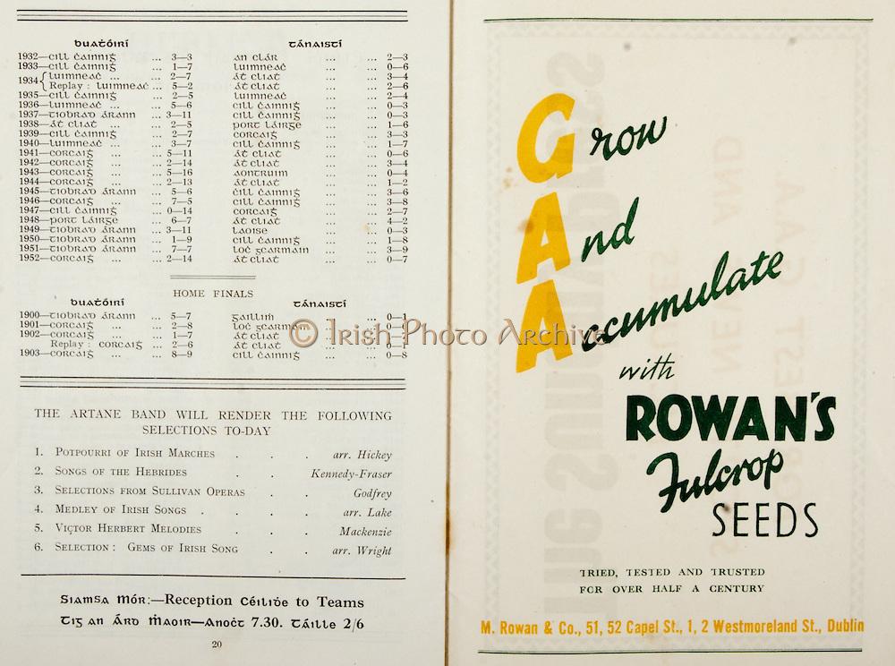 All Ireland Senior Hurling Championship Final,.Programme, .06.09.1953, 09.06.1953, 6th September 1953,.Cork 3-3, Galway 0-8, .Minor Dublin v Tipperary, .Senior Cork v Galway, .Croke Park, 0691953AISHCF,..Advertisements, Rowan's Fulcrop Seeds,