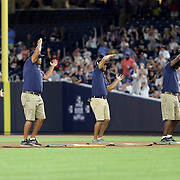 NEW YORK, NEW YORK - July 17: New York Yankees ground staff perform YMCA while grooming the infield during the Boston Red Sox Vs New York Yankees regular season MLB game at Yankee Stadium on July 17, 2016 in New York City. (Photo by Tim Clayton/Corbis via Getty Images)