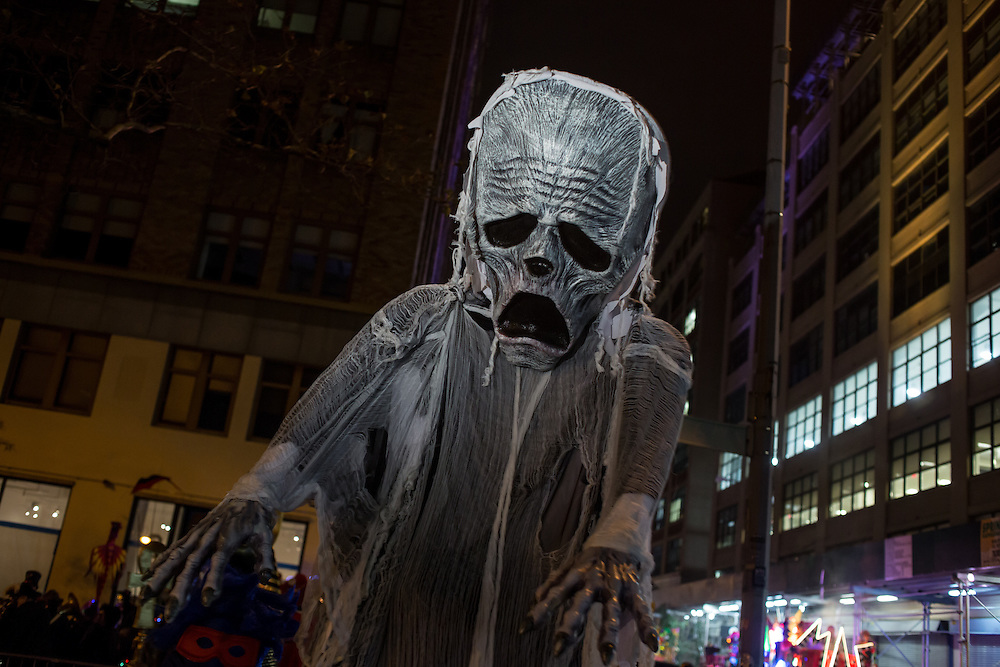 New York, NY - October 31, 2015. A tall figure of a zombie.