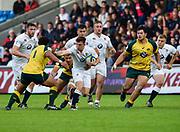 England centre  Johnny Williams makes a break during the World Rugby U20 Championship  match England U20 -V- Australia U20 at The AJ Bell Stadium, Salford, Greater Manchester, England on June  15  2016, (Steve Flynn/Image of Sport)