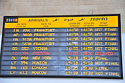 Israel, Ben-Gurion international Airport, Terminal 3, arrival schedule board