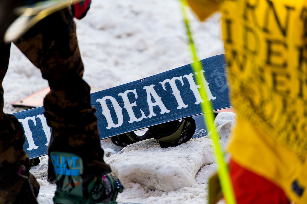 Scene from the Downtown Showdown rail jam ski and snowboard competition event festival in Marquette, Michigan on Michigan's Upper Peninsula.