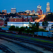 Kansas City skyline with railroad tracks of West Bottoms area in foreground.