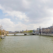Bridge over the River Seine in downtown Paris. High Resolution panorama.