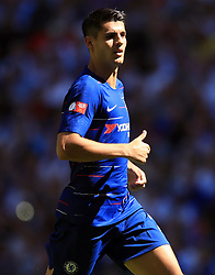 """Chelsea's Alvaro Morata during the Community Shield match at Wembley Stadium, London. PRESS ASSOCIATION Photo. Picture date: Sunday August 5, 2018. See PA story SOCCER Community Shield. Photo credit should read: Adam Davy/PA Wire. RESTRICTIONS: EDITORIAL USE ONLY No use with unauthorised audio, video, data, fixture lists, club/league logos or """"live"""" services. Online in-match use limited to 75 images, no video emulation. No use in betting, games or single club/league/player publications."""